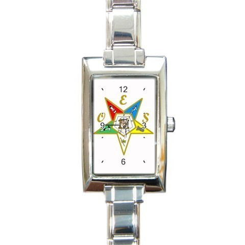 Ladies Rectangular Italian Charm Watch Order Of The Easter Star White 32879125