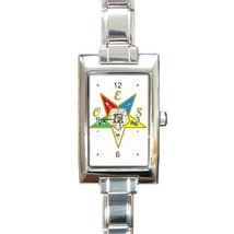 Ladies Rectangular Italian Charm Watch Order Of The Easter Star White 32... - $11.99