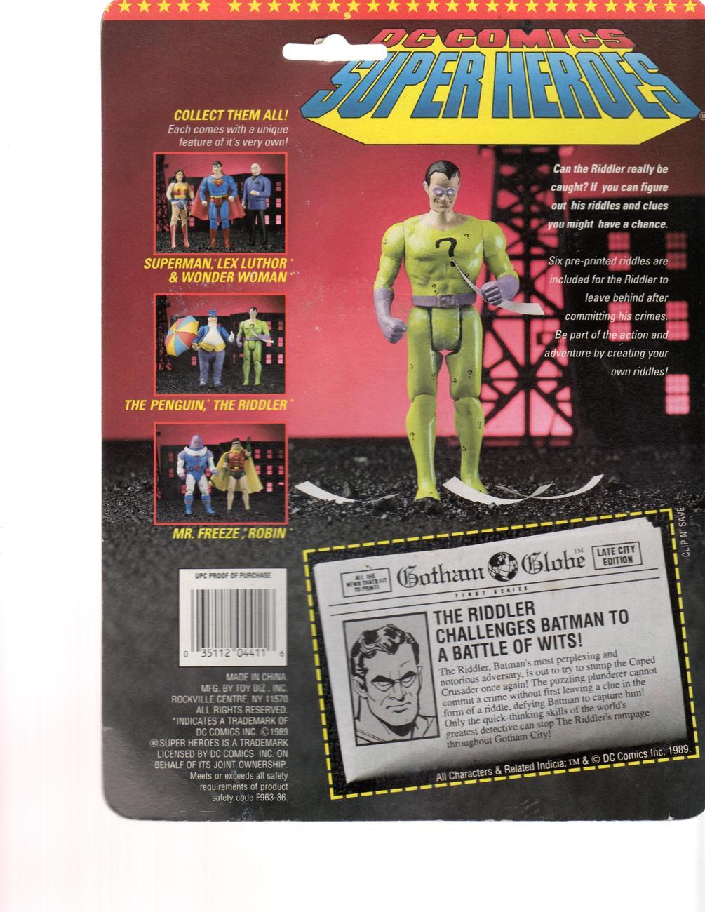 The Riddler Action Figure 1989- DC Comics Super Heroes