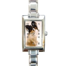 Ladies Rectangular Italian Charm Watch Papillon Dog Puppy Pet Gif model ... - $11.99