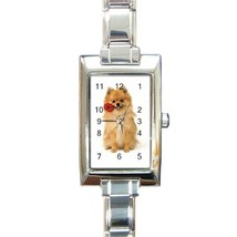 Ladies Rectangular Italian Charm Watch Pomeranian Dog Puppy Pet  mode 30... - $11.99
