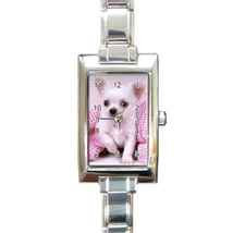 Ladies Rectangular Italian Charm Watch White Chihuahua Dog Puppy  model ... - $11.99