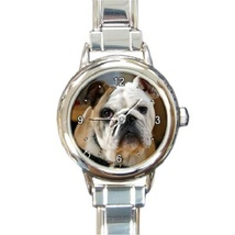 Ladies Round Italian Charm Bracelet Watch Buldog Gift model 14573400 - $11.99