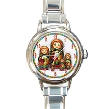 Ladies Round Italian Charm Bracelet Watch Russian Nesting Dolls Art 30160905 - $11.99