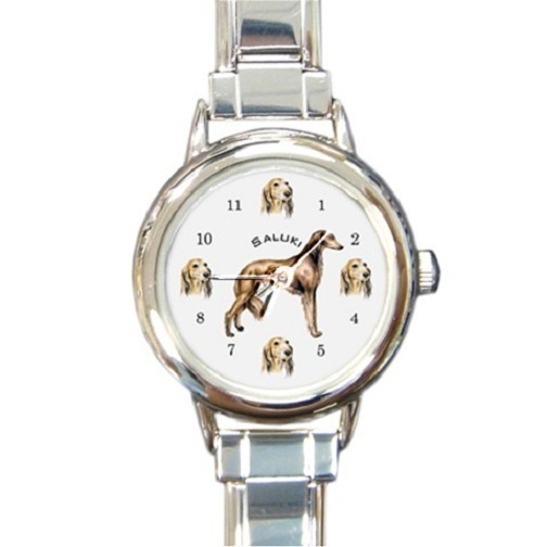 Ladies Round Italian Charm Bracelet Watch Saluki Dog Gift model 30314273