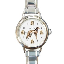 Ladies Round Italian Charm Bracelet Watch Saluki Dog Gift model 30314273 - $11.99