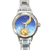 Ladies Round Italian Charm Bracelet Watch Sun Moon Stars Universe Gift 3... - $11.99