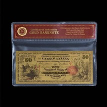 WR 1875 $50 Cleveland Bill US Color Gold Banknote In COA Frame Nice Gift - $6.18