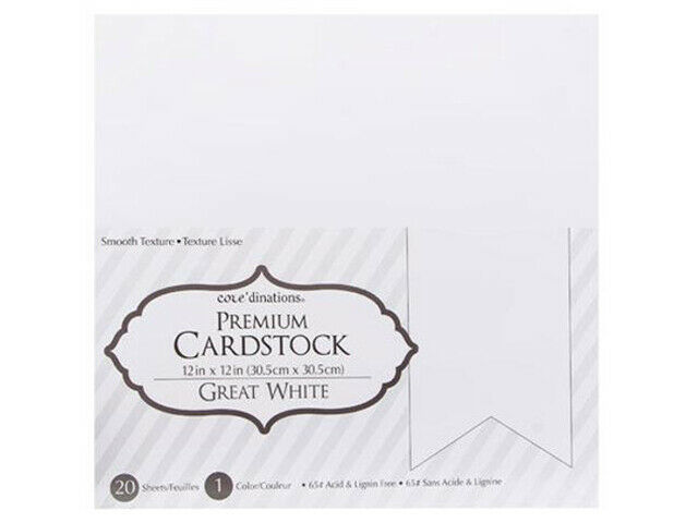 """Core'dinations Premium Cardstock 12x12"""" White, 20 Sheets"""
