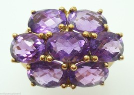 10K Gold Ring with Seven Genuine Natural Amethysts (#3034) - $384.75
