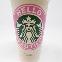 Starbucks Hello Beautiful Siren Mermaid Recycle Plastic White Pink Cup 16 oz - $29.65
