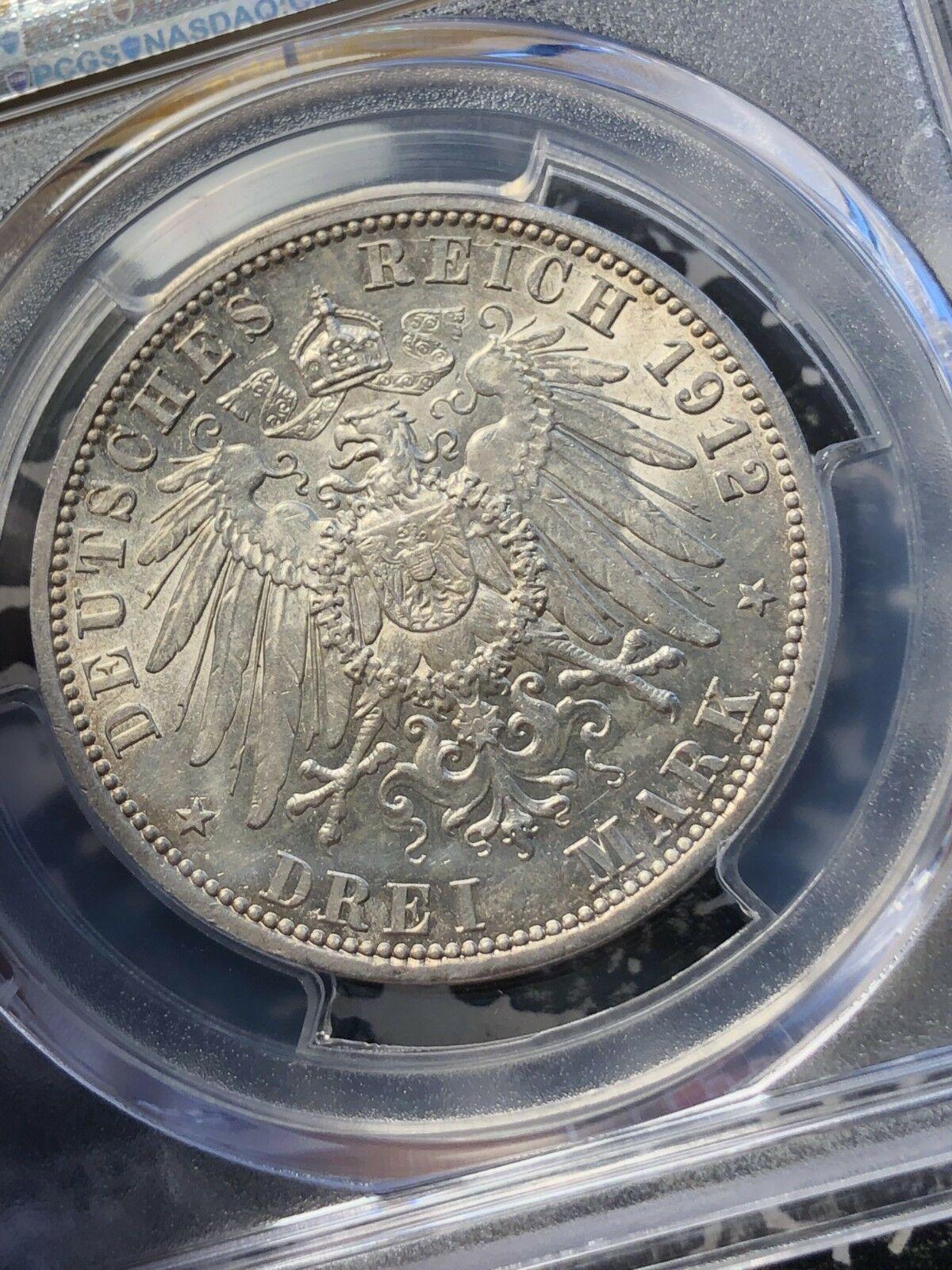 1912-a Germania Prussia 3 Marks PCGS Ms62 Lotto #G013 Argento! Colorato
