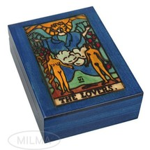 Tarot Box Handmade Wooden Keepsake The Lovers Tarot Card Holder Box - $32.66