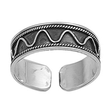 925 Pure Sterling Silver 14k White Gold Plated Adjustable Toe Ring For W... - $9.99