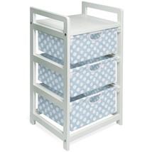 Badger Basket White Three Drawer Hamper/Storage Unit - Polka Dots, Blue - $100.79