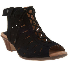 Earth Nubuck Leather Lace-Up Sandals - Kristen Black 7.5 M - $64.34