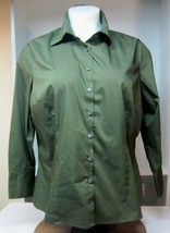 Merona 24W Womens Deep Military Green Blouse Long Sleeve Great Shape A20 - $14.36