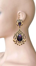 "3.5"" Long Victorian Vintage Inspired Purple Crystal Evening Clip On Earr... - $20.90"