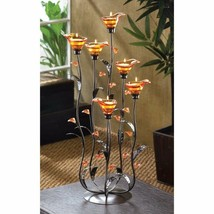 Tea Light Candle Holder w/ 6 Iridescent Amber Lilly Bloom Cups on Curving Stems - $45.45