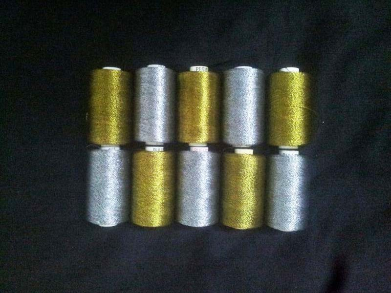 ~10 metallic golden silver RAYON MACHINE EMBROIDERY THREAD BROTHER $50 value BLK