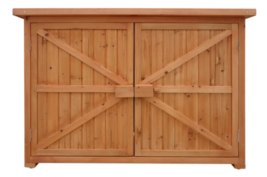 Tool Storage Shed Small Garden Wooden Cabinet Outdoor Waterproof Cedar P... - $249.99