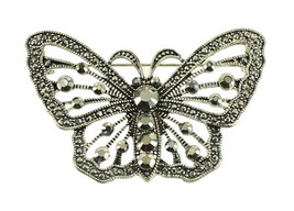 VINTAGE SILVER TONE MARCASITE LARGE BUTTERFLY PIN BROOCH PRETTY! - $67.49