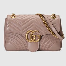 NIB Gucci GG Marmont dusty pink leather medium shoulder bag ; Rtl $2490 - $1,950.00