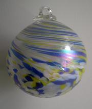 5 Inch Hand-Blown Art Glass Mottled Blue & Yellow Friendship - $26.00