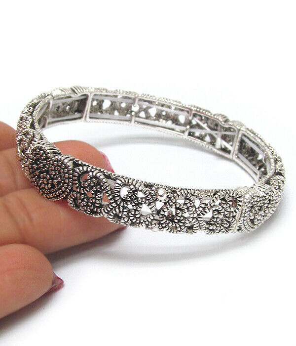 Primary image for Heart Loop Scroll Textured Bangle Bracelet Silver NEW