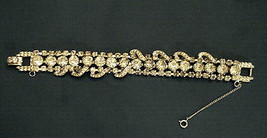RHINESTONE Encrusted Statement BRACELET with Safety Chain Vintage Not Si... - $39.55