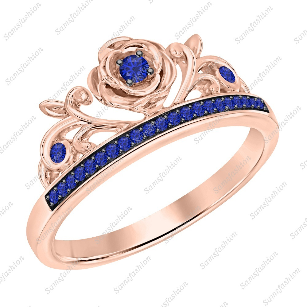 Primary image for Round Cut Blue Sapphire 14k Rose Gold Over 925 Silver Rose Flower Promise Ring