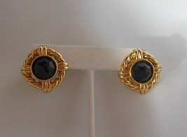 Vintage Signed SAL Gold Tone Black Faceted Crystal Stone Earrings  - $44.55