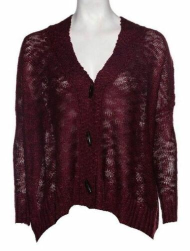 Small Women's California MoonRise Sweater Oversized Joy in Burgundy Button Front