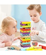 Top Bright Wooden Blocks Stacking Board Game Cartoon Colored Building Bl... - $21.99