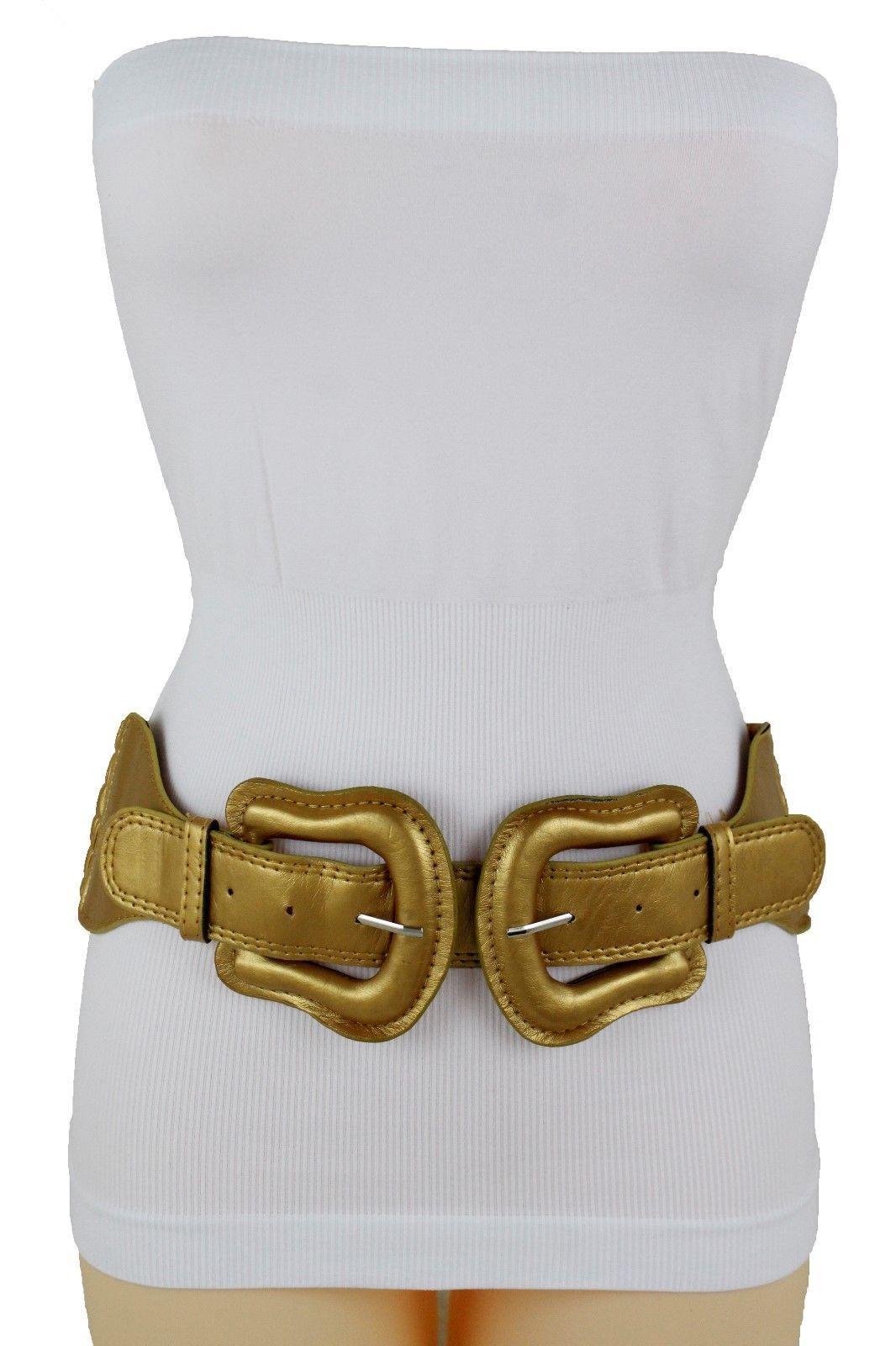 Damen Gold Breit Elastische Bänder Stoff West Auffällige Gürtel Groß Doppel