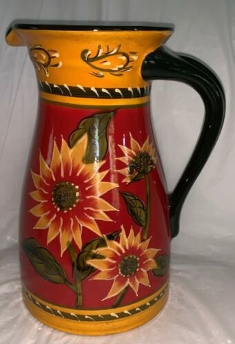 Primary image for Pier 1 Tall Sunflower Pitcher 72oz Hand Painted Terracotta Discontinued Gold Red