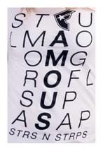 Famous Stars & Straps Womens White Scroll STFU OMG LMAO ROFL SUP Juniors T-Shirt image 2