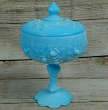 Vintage Fenton Glass Rose Blue Marble Tall Covered Candy Box Dish Lidded... - $34.25