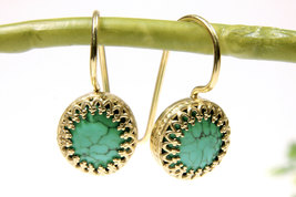Turquoise earrings,dangle earrings,gold earrings,December birthstone,hook - $52.00+