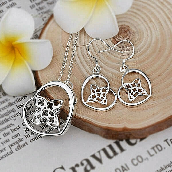 Primary image for Heart Star Pendant Necklace and Earrings Set 925 Sterling Silver NEW