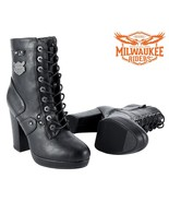 LADIES LEATHER MOTORCYCLE BOOTS CHUNKY HEELS Milwaukee Riders® SIZE 6 TO... - $64.99+