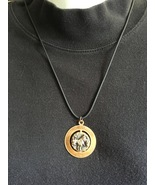 "Aries Zodiac Pendant Necklace, 21"" Leather Cord... - $12.50"