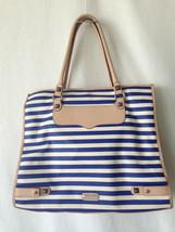 Rebecca Minkoff Striped Diamond Purse Handbag Tote Canvas Navy Blue - $148.50