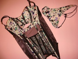 NWT Victoria's Secret 36C garter slip+M thong White Black Purple FLORAL fishnet - $49.49