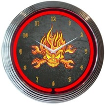 "Mechanic Fire Skull And Wrenches Banner Neon Clock 15""x15"" - $59.00"