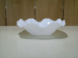 "Vintage Milk Glass Bowl Candy Dish Ruffled Edge Diamond Cut Pattern 6"" S... - $19.80"