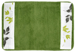 Popular Bath Mayan Leaf Sage Bath Collection - 21 x 32 Banded Bathroom Rug - $24.74
