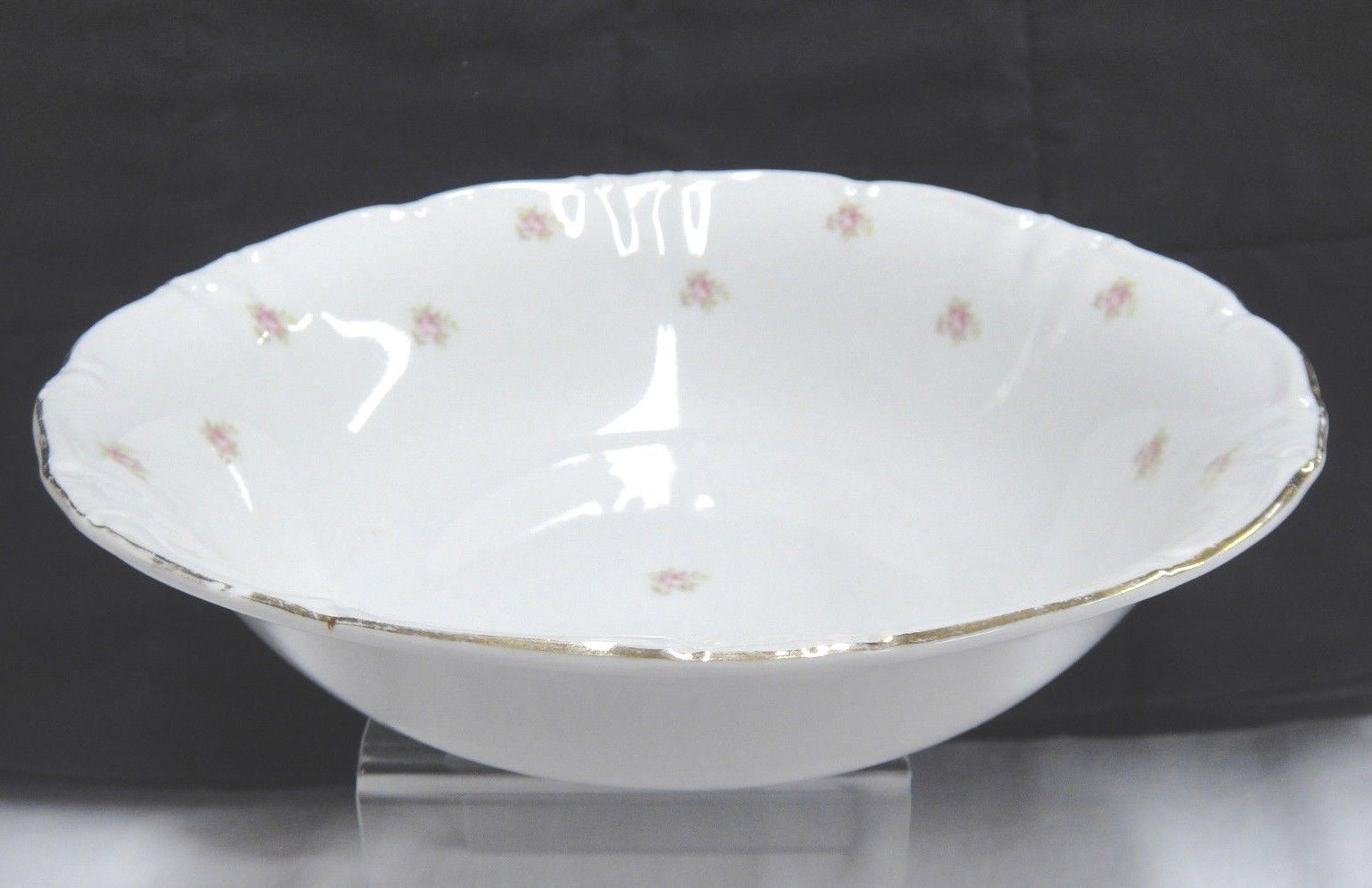 "Vintage Winterling Rosedot 9"" Round Vegetable Serving Bowl Pink Roses Bavaria image 3"