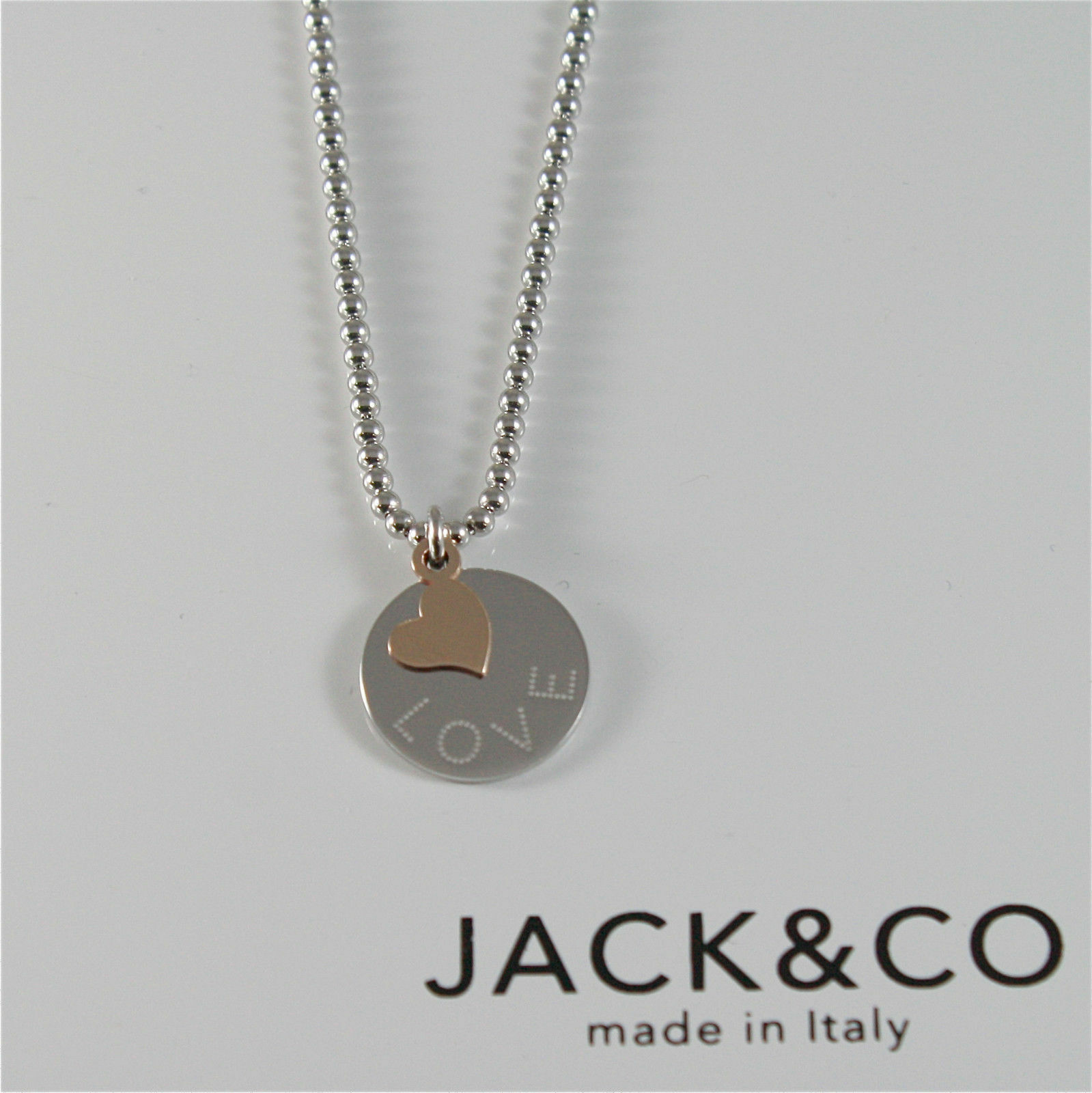 Necklace to Balls Silver 925 Jack&co with Heart in Rose Gold 9KT JCN0545