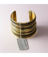 World Market Ethnic Antiqued Gold Tone Brass India Floral Cuff Bracelet - $9.90